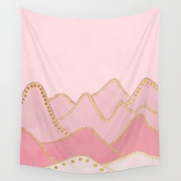 Pink Mountains with gold dots Wall Tapestry