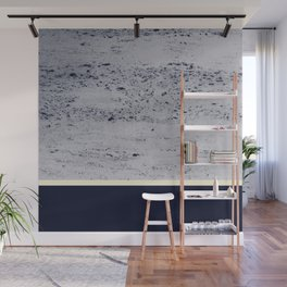 Navy Blue Pale Yellow on Navy Blue Concrete #1 #decor #art #society6 Wall Mural