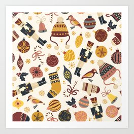 Vintage Christmas Items Art Print