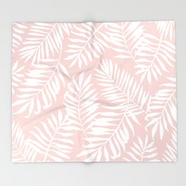 Tropical Palm Leaves - Pink & White Throw Blanket