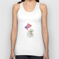 westie Tank Tops featuring Original Paper Cutting of Westie With American Flag by Carrie McFerron