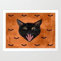 Cat and Bats Halloween art  Art Print