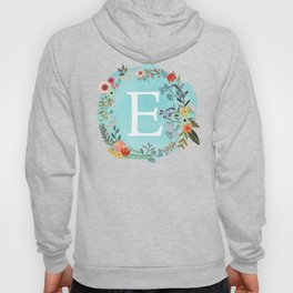 Personalized Monogram Initial Letter E Blue Watercolor Flower Wreath Artwork Hoody