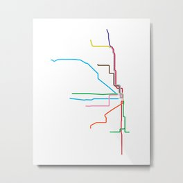 Chicago CTA Map, Chicago Train Map Art, Chicago L Train Map, Chicago Art, Chicago Wall Art, Map Art Metal Print