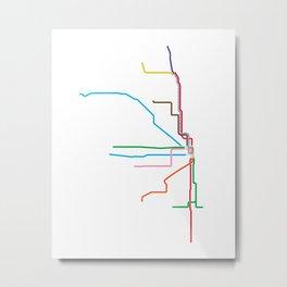 Chicago CTA Map, Chicago Train Map Art, Chicago L Train Map, Chicago Art, Chicago Wall Art, Map Art Metal Print