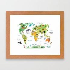 Animal World Map Framed Art Print