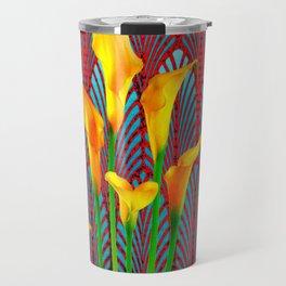 DECORATIVE RED & BLUE DECO GOLDEN CALLA  LILIES ART Travel Mug