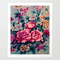 vintage floral Art Prints featuring Vintage Floral  by CLE.ArT.