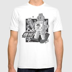 Vintage Robot Mens Fitted Tee White MEDIUM