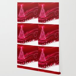 Red Christmas Tree Snowflakes Lights Winter Wallpaper