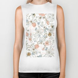 Abstract modern coral white pastel rustic floral Biker Tank