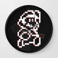 8bit Wall Clocks featuring Mario 8bit by Atlas Designs
