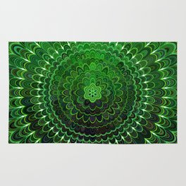 Green Flower Mandala Rug
