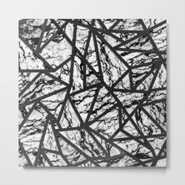 Geometric Black and White Marble Triangles Pattern Metal Print