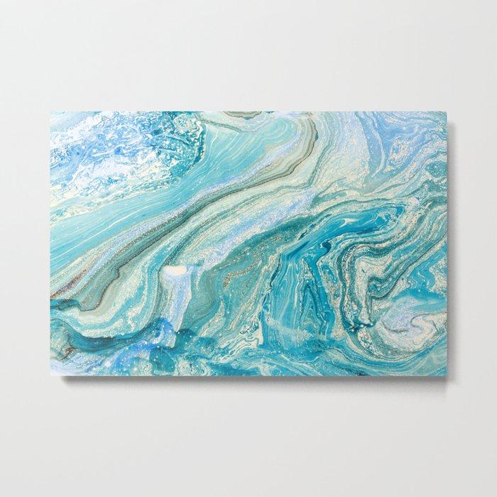 Blue Liquid Marble Metal Print