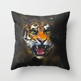 tiger in the dark Throw Pillow