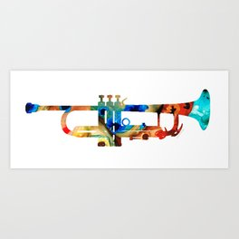 Colorful Trumpet Art By Sharon Cummings Art Print