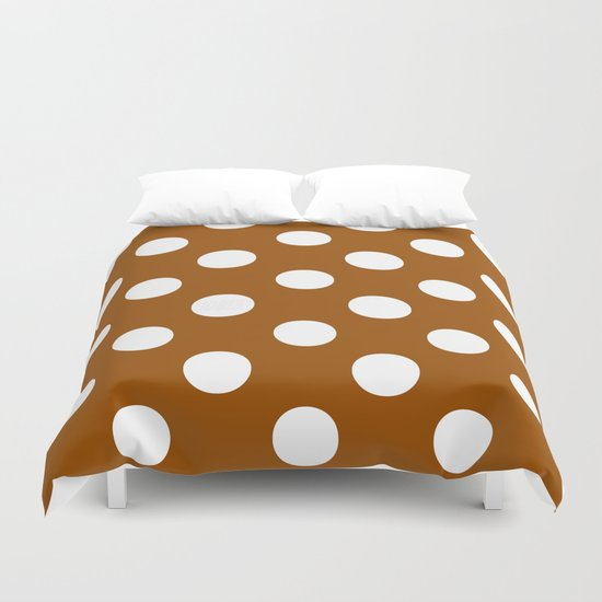 Polka Dots (White/Brown) Duvet Cover