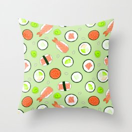 Cute Sushi Pattern Green  Throw Pillow