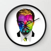leonardo dicaprio Wall Clocks featuring Leonardo DiCaprio - popart portrait by Dep's