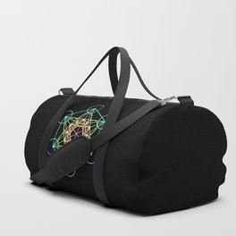 Metatron's Cube- Rainbow on Black Duffle Bag