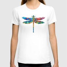 Colorful Dragonfly Art By Sharon Cummings Womens Fitted Tee White X-LARGE