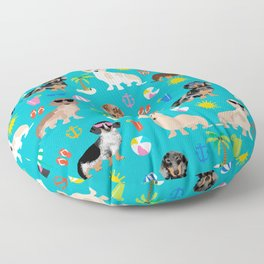 Dachshunds beach summer tropical vacation weener dogs doxie gifts Floor Pillow