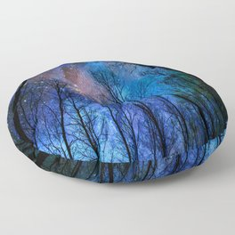 Black Trees Dark Blue Space Floor Pillow