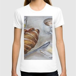 French breakfast, coffee and croissant, original oil painting, daily traditional art T-shirt