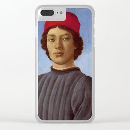 "Sandro Botticelli ""Portrait of a young man with red hat"" Clear iPhone Case"