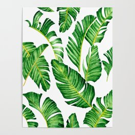 Banana Leaves pattern in watercolor Poster