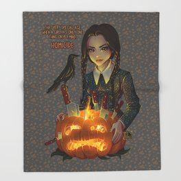 Wednesday Addams - Homicide Throw Blanket