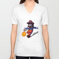 super mario V-neck T-shirts featuring Mario by DROIDMONKEY