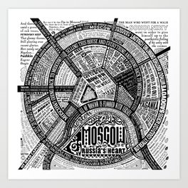 Moscow Map Art Print