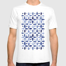 Imperfect Geometry Blue Petal Grid T-shirt
