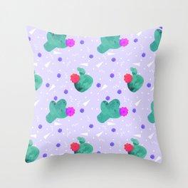 Hello Cactus Lavender Background Throw Pillow
