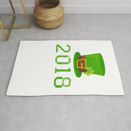 2018 St. Patrick_s Hat Green Shamrock Clover Irish Rug