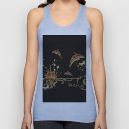 Funny dolphins with flowers Unisex Tank Top