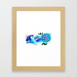 Three Blue Christchurch Roses Framed Art Print