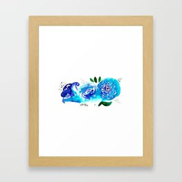 Three Blue Christchurch Roses Framed Art Print