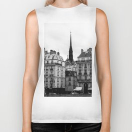 A View of Sainte Chapelle from the Right Bank of the Seine River, Paris, France Biker Tank