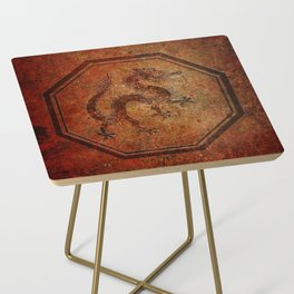 Distressed Chinese Dragon In Octagon Frame Side Table
