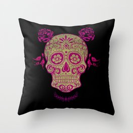 Sugar Skull Green and Pink Throw Pillow