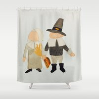 toddler Shower Curtains featuring Thanksgiving Pilgrim Toddler Girl and Boy Couple by PodArtist