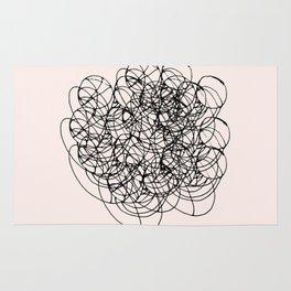 Black Circle Lines on Pink Rug