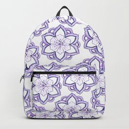 Hand drawn lavender white watercolor floral mandala pattern Backpack