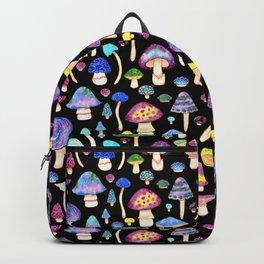 Colorful Mushroom Watercolor on Black Backpack