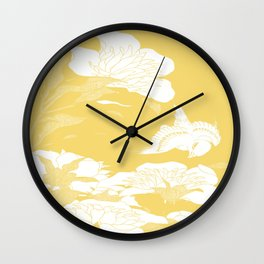 japanese flowers. Yellow Wall Clock