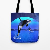 orca Tote Bags featuring Orca by Simone Gatterwe