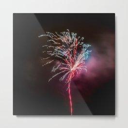 Colorful Fireworks on Dark Sky Metal Print